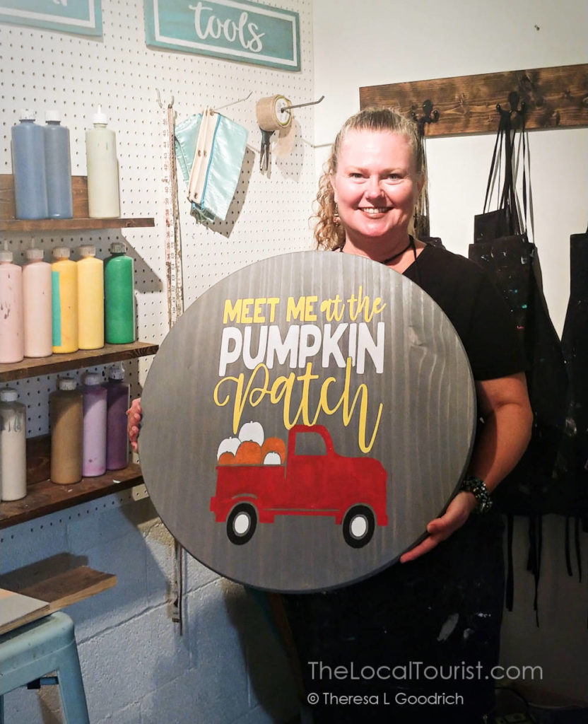 Meet at the Pumpkin Patch - sign Theresa made at Hands to Home Crafted in McHenry