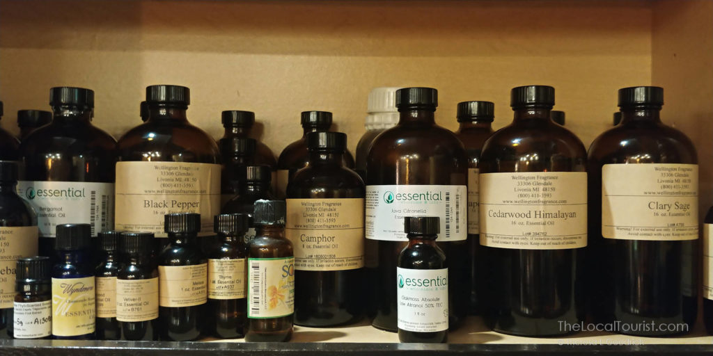 Valerie's collection of essential oils, used in her handmade natural soaps for Jackass Charm