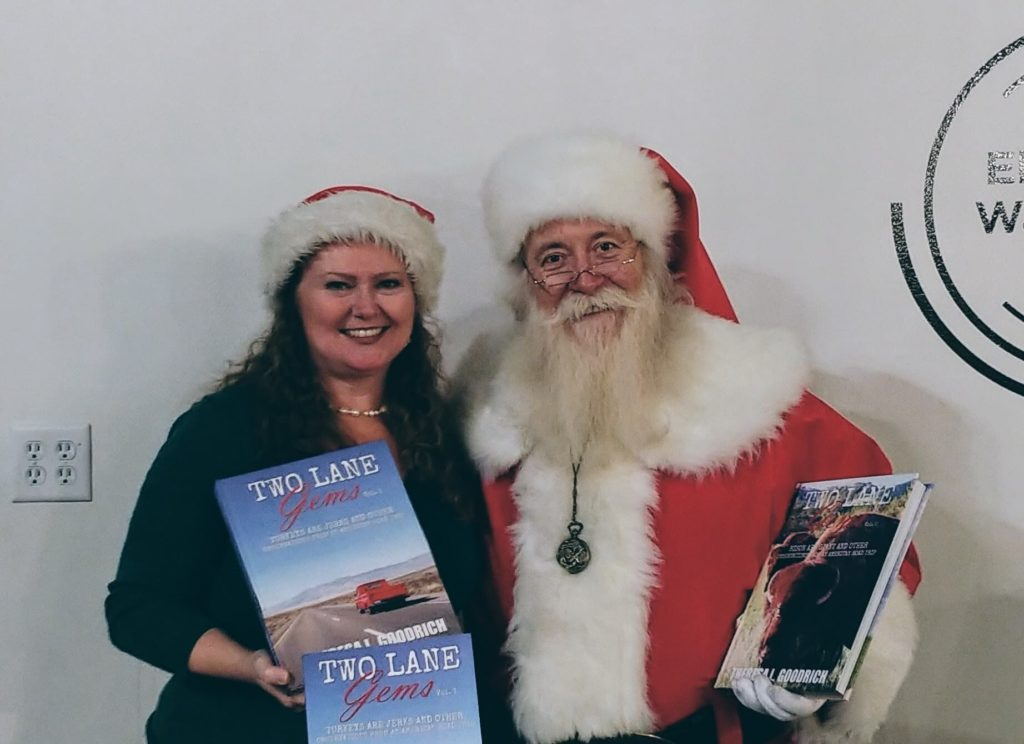 TLG with Santa holding Two Lane Gems