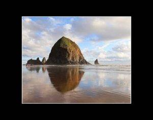 Haystack Rock at Cannon Beach with Black Matting