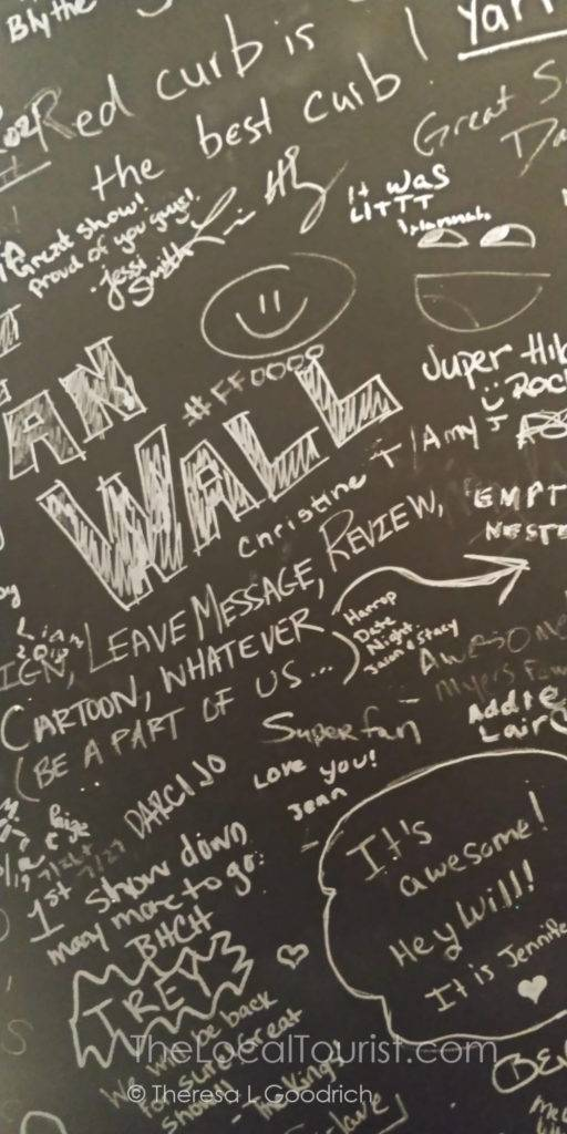Signatures on the wall at Red Curb Improv Comedy in Avon, Indiana