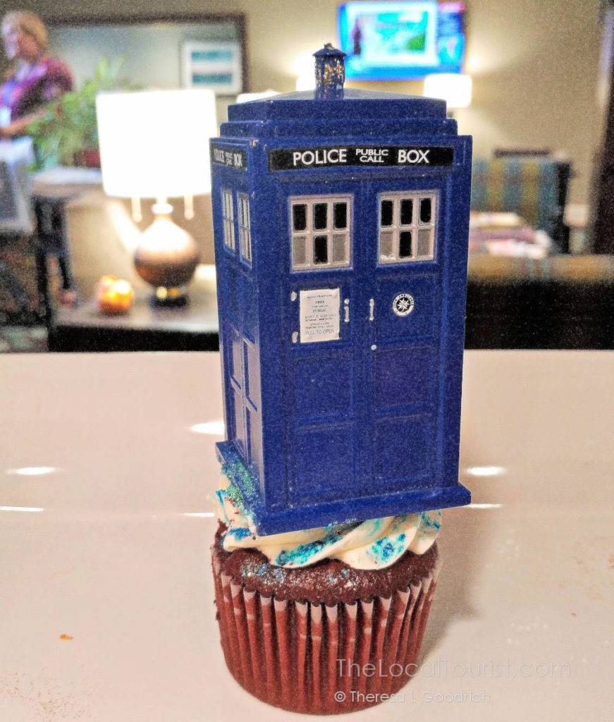 TARDIS Cupcake made by Jennifer Smith, Director of Sales for Staybridge Suites in Hendricks County Indiana.