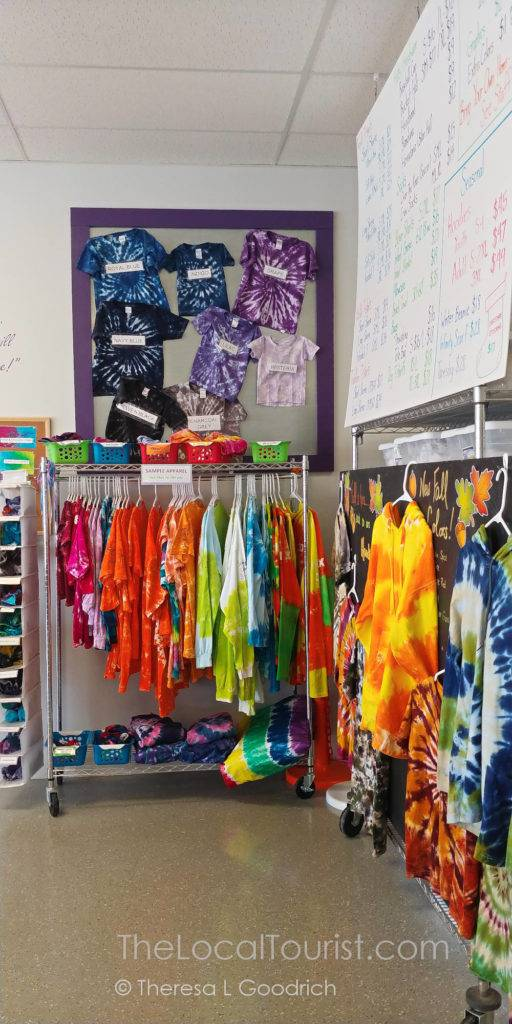 Some of the fabric options at The Tie Dye Lab in Avon, Indiana