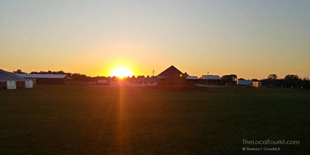 Sunset over the barn at Beasley's Orchard